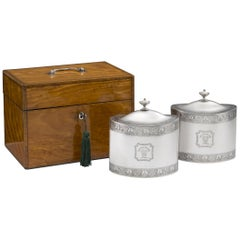 Pair of Cased George III Tea Caddies Made in London in 1793 by William Frisbee