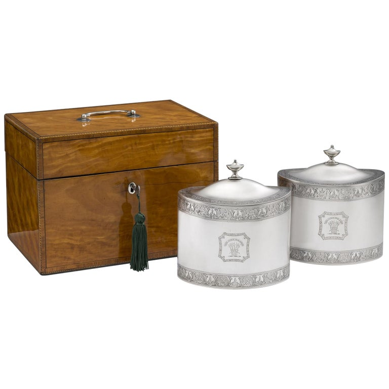 Pair of Cased George III Tea Caddies Made in London in 1793 by William Frisbee For Sale