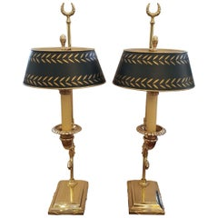 Pair of Cast Brass and Tole Cornicopia Lamps by Chapaman