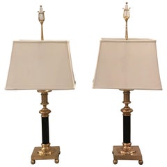 Pair of Cast Brass Table Lamps by Chapman