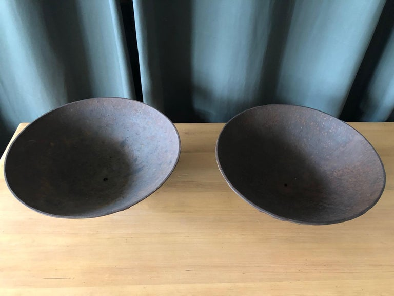 "Swedish Pair of Cast Iron Urns ""Mikrokosmos"" by Olof Hult For Sale"