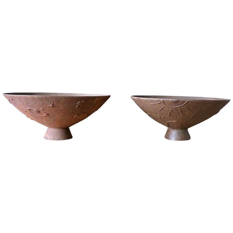 "Pair of Cast Iron Urns ""Mikrokosmos"" by Olof Hult For Sale"