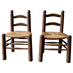 Pair of Catalan Walnut and Rush Seated Finca Chairs