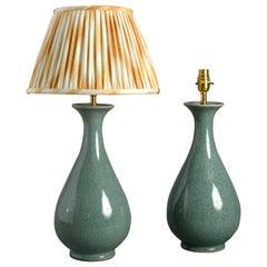 Pair of Celadon Crackle Glazed Porcelain Vase Lamps