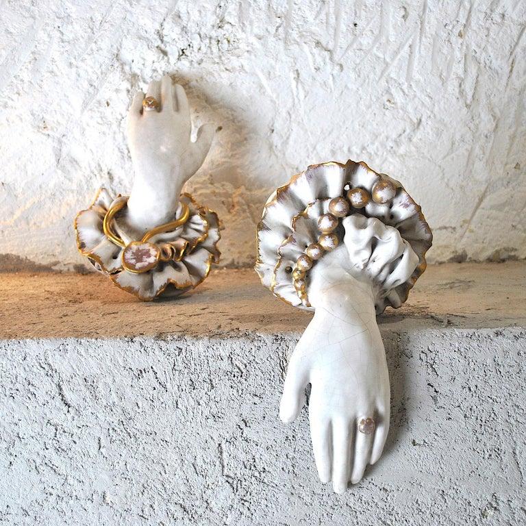 Pair of Ceramic Hands 1920s in Art Deco For Sale 1