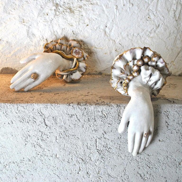 Pair of Ceramic Hands 1920s in Art Deco For Sale 2