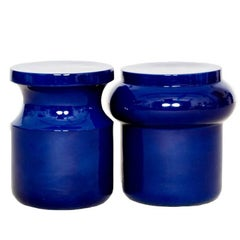 Pair of Ceramic Stools by French Designer Christophe Delcourt