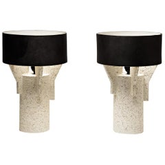 Pair of Ceramic Table Lamps by Denis Castaing with Brown Glaze, 2019