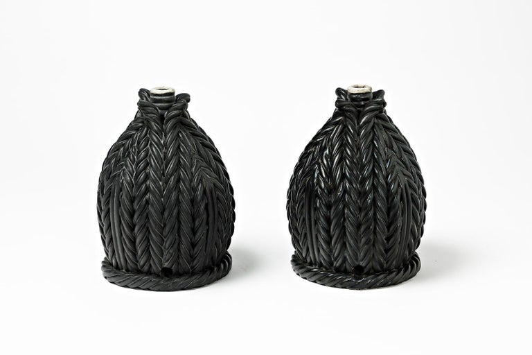 Beaux Arts Pair of Ceramic Table Lamps, Signed under the Base, France 1960-1970 For Sale