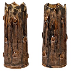 Pair of Ceramic Vases, by Jean Talbot, to La Borne, circa 1940