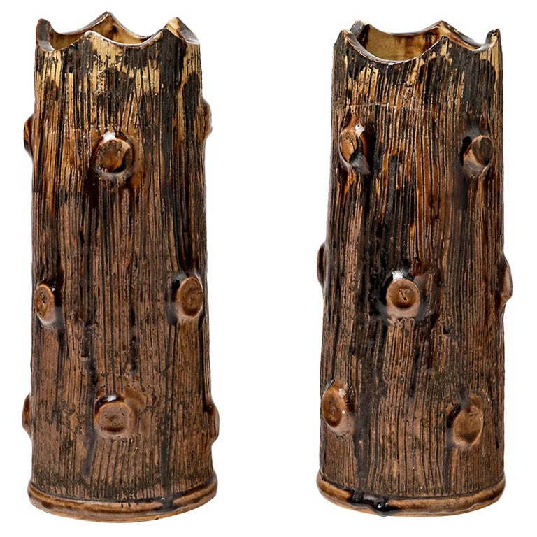 Pair of Ceramic Vases, by Jean Talbot, to La Borne, circa 1940 For Sale