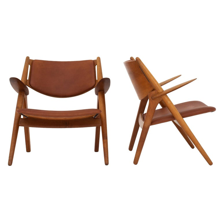 Pair of CH 28 Easy Chairs by Hans J. Wegner For Sale
