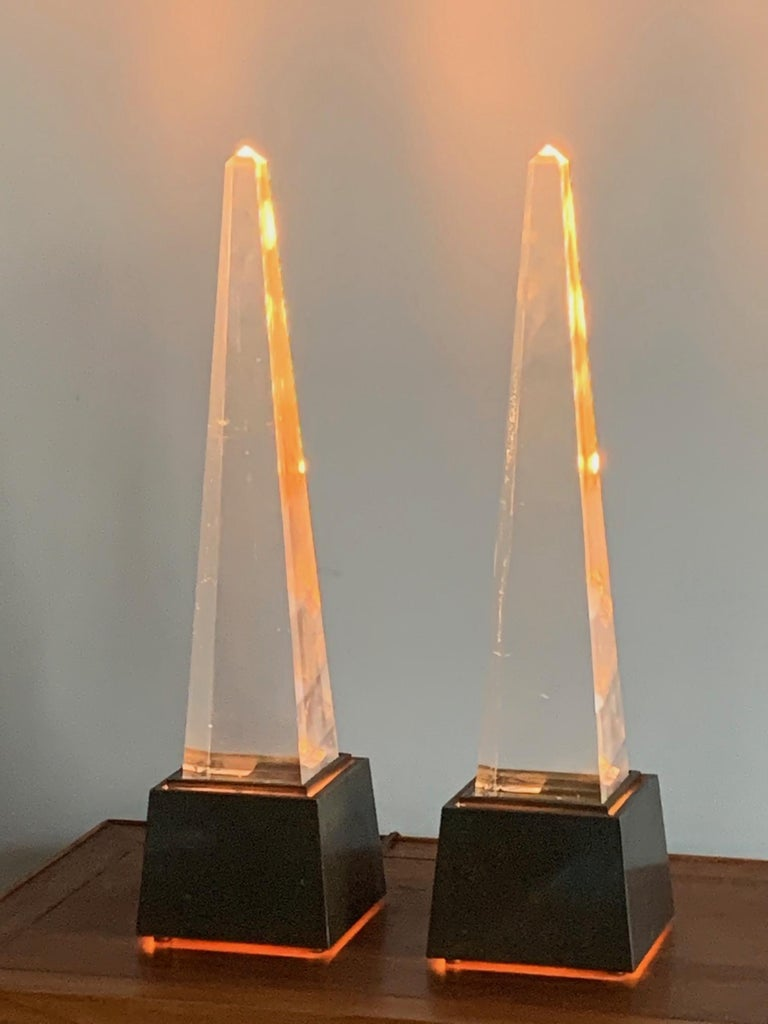Pair of Chapman Obelisk Lamps, circa 1977 In Good Condition For Sale In St.Petersburg, FL