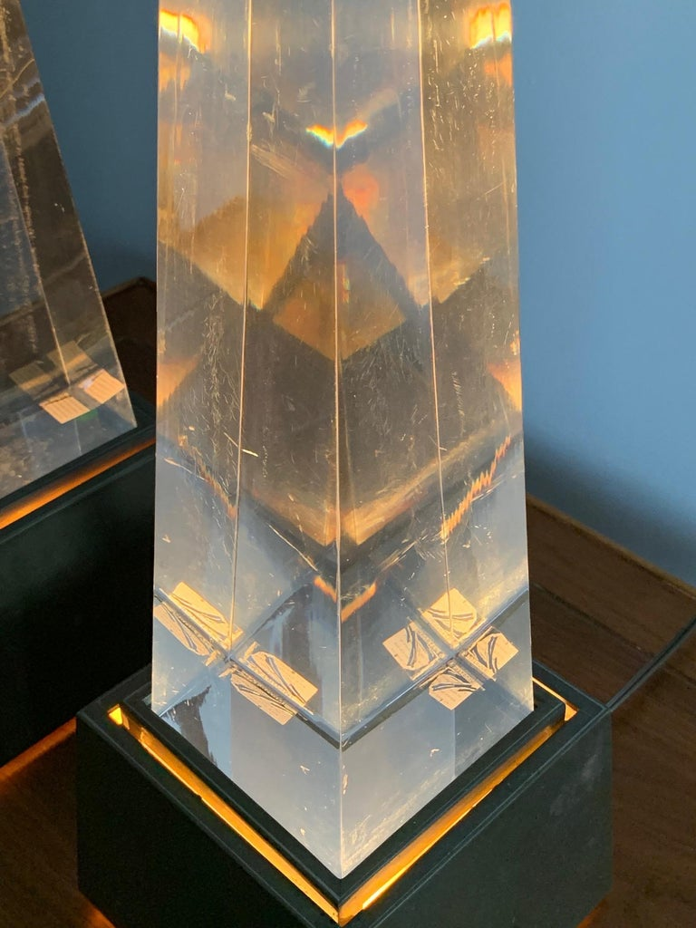 Late 20th Century Pair of Chapman Obelisk Lamps, circa 1977 For Sale