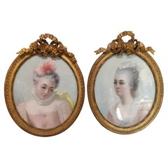 Pair of Charming Portraits of Women from the Late 18th Century
