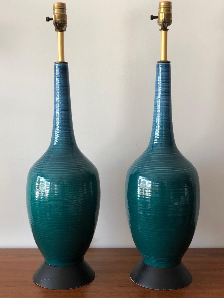 Pair of Charming Turquiose Lamps with Original Shades For Sale 4