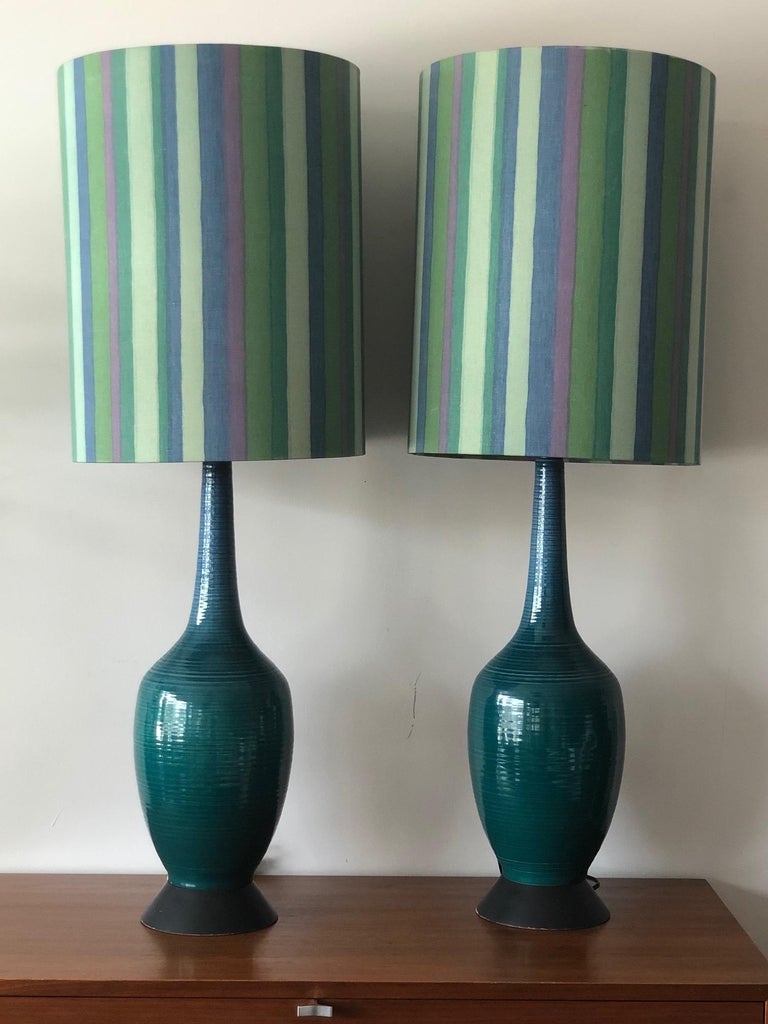 Pair of Charming Turquiose Lamps with Original Shades In Good Condition For Sale In St.Petersburg, FL