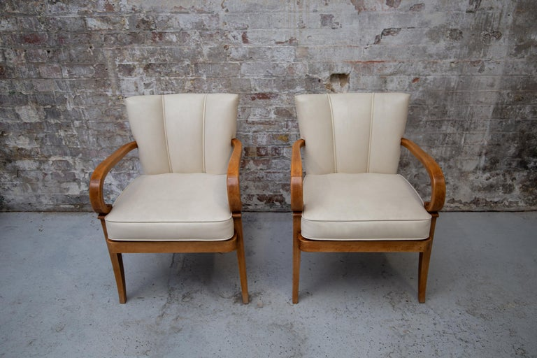 A Pair of Cherrywood Armchairs in the Manner of Jean Pascaud, circa 1940 For Sale 4