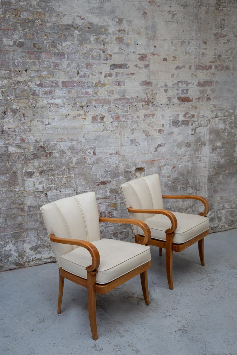 A Pair of Cherrywood Armchairs in the Manner of Jean Pascaud, circa 1940 For Sale 5