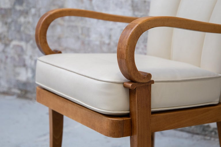 A Pair of Cherrywood Armchairs in the Manner of Jean Pascaud, circa 1940 For Sale 6