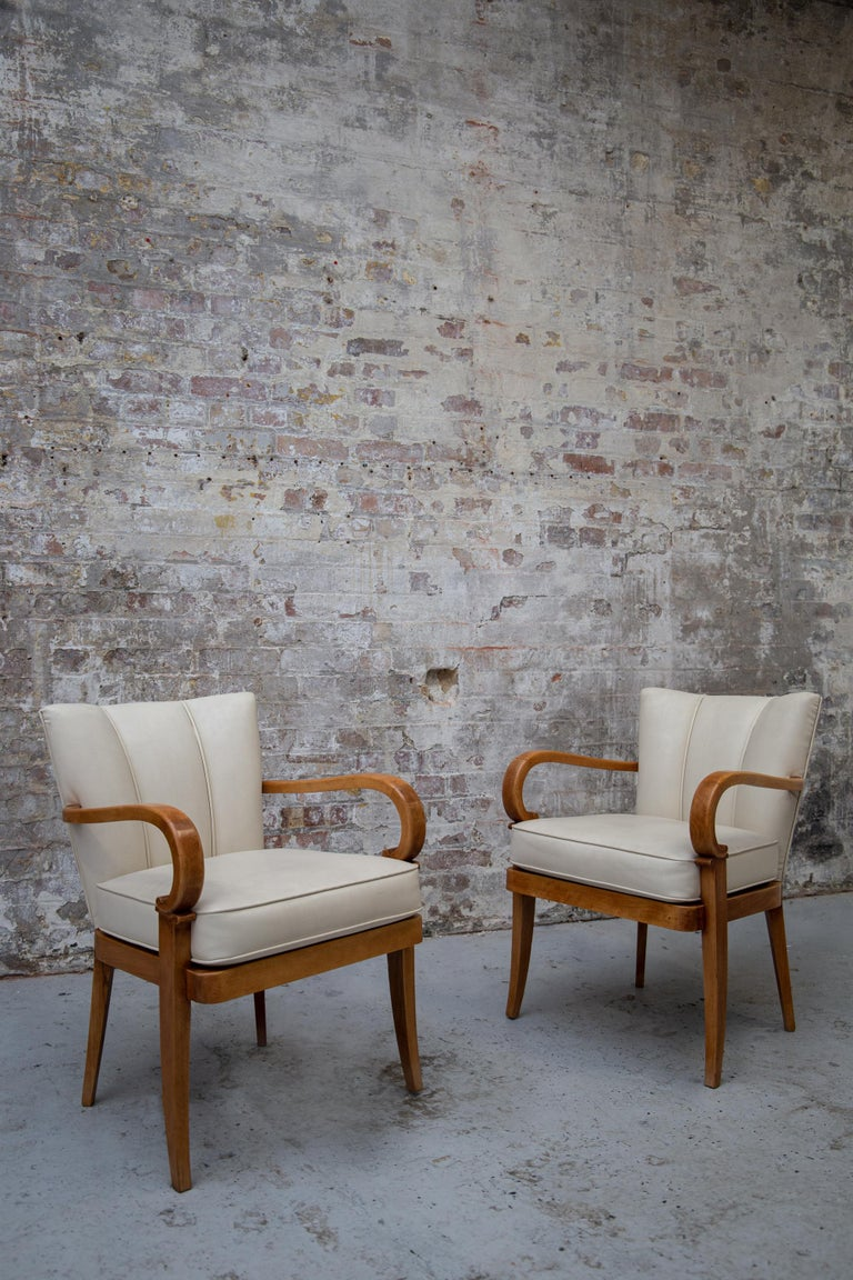 A Pair of Cherrywood Armchairs in the Manner of Jean Pascaud, circa 1940 For Sale 9