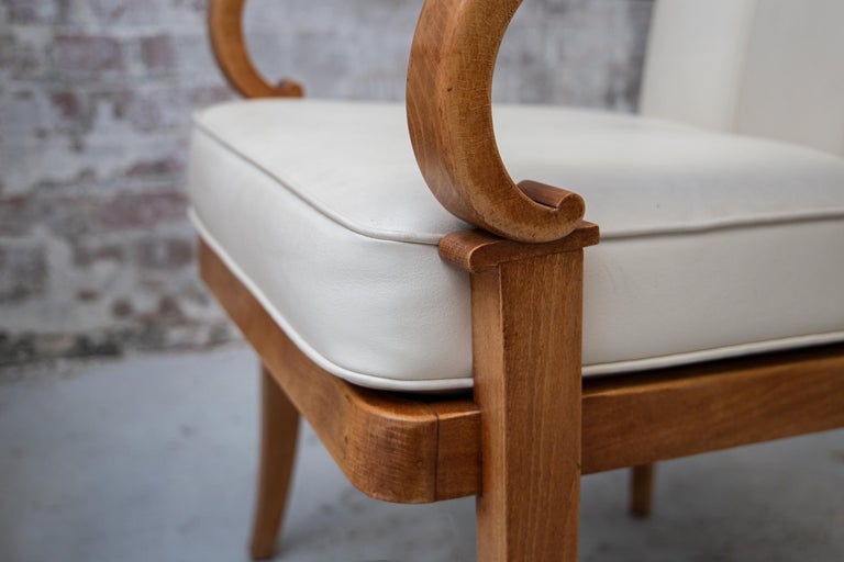 Faux Leather A Pair of Cherrywood Armchairs in the Manner of Jean Pascaud, circa 1940 For Sale