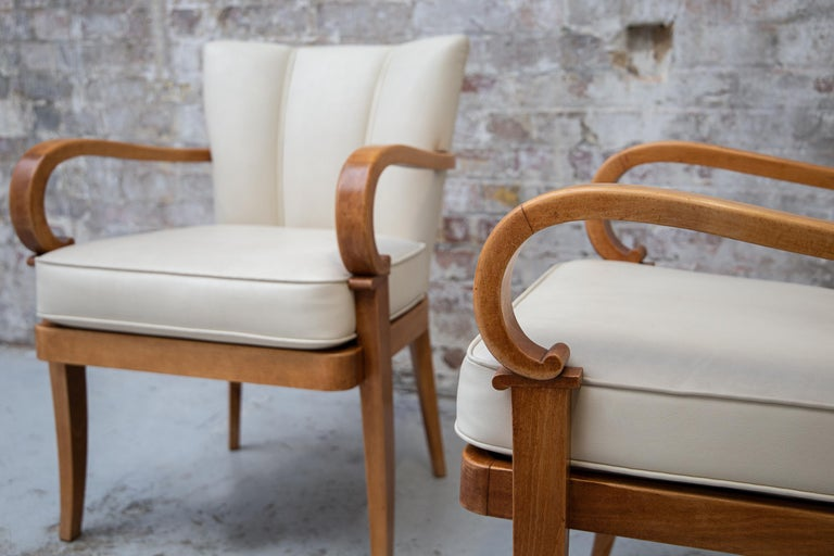 A Pair of Cherrywood Armchairs in the Manner of Jean Pascaud, circa 1940 For Sale 2