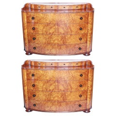 Pair of Chests of Drawers Art Deco Style Burr Elm Veneers English, circa 1970