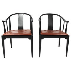 Pair of China Chairs of Black Colored Ash by Hans J. Wegner, 2013