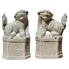 Pair of Chinese 'blanc-de-chine' 'Buddhist Lion' Joss Stick Holders