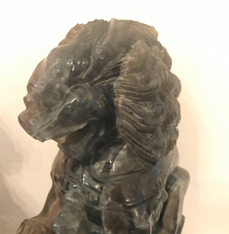 Pair of Chinese Carved Green Quartz Foo Dogs In Excellent Condition For Sale In Lambertville, NJ