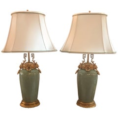 Pair of Chinese Celadon Porcelain Urn Lamp with Later French Ormolu Mounts