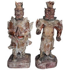 A Pair of Chinese Han Wooden Warriors