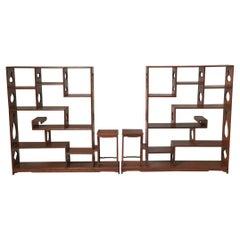 Pair of Chinese Hardwood Treasure Shelves
