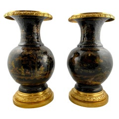 Pair of Chinese Lacquer Urns Mounted with Gilt Bronzes, 19th Century