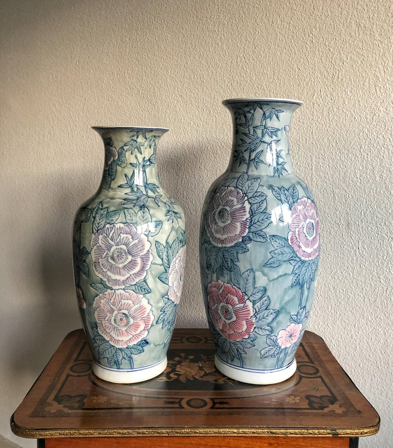 Mid-Century Modern Pair of Chinese Large Flower Vases ON SALE  For Sale