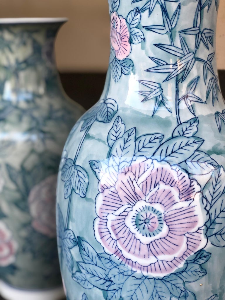 Porcelain Pair of Chinese Large Flower Vases ON SALE  For Sale