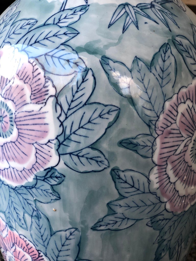 Pair of Chinese Large Flower Vases ON SALE  For Sale 1