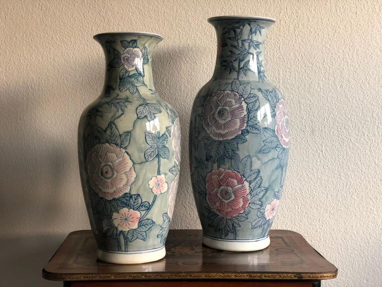 Pair of Chinese Large Flower Vases ON SALE  For Sale 3