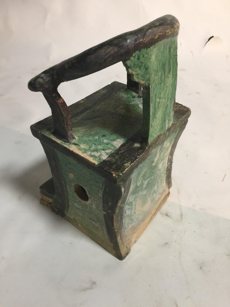 Early 17th Century Pair of Chinese Ming Dynasty Green Glazed Mingqi Chairs For Sale