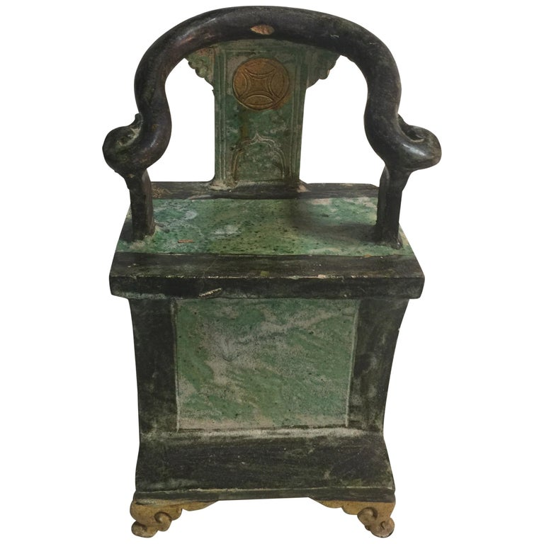 Pair of Chinese Ming Dynasty Green Glazed Mingqi Chairs For Sale