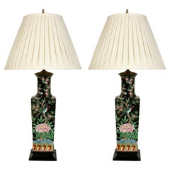 Pair of Chinese Porcelain Famille Noir Lamps