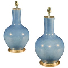 Pair of Chinese Porcelain Lilac Vases Now Mounted as Lamps