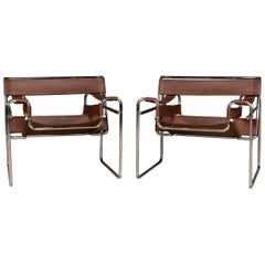 Pair of Chrome-Plated and Leather Wassily Chairs, circa 1980