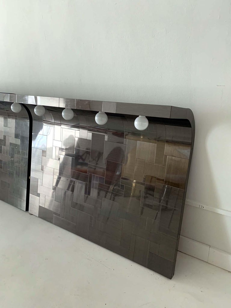 Pair of Cityscape Headboard with Lights Paul Evans for Directional In Good Condition For Sale In North Miami, FL