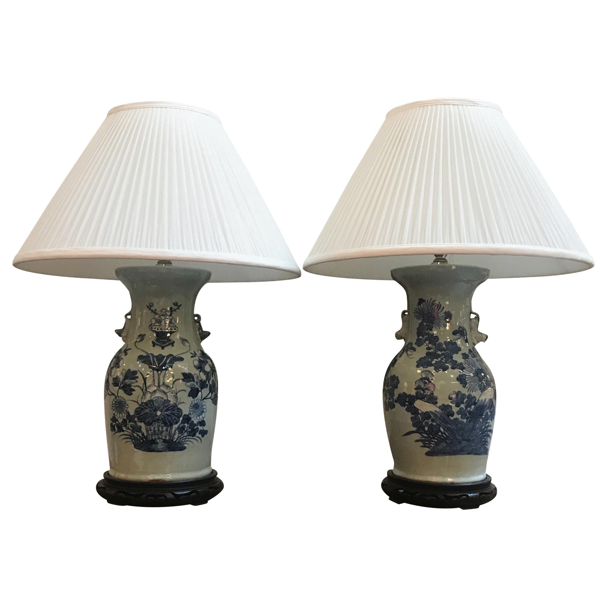 Pair of Classic Blue and White Chinese Porcelain Lamps