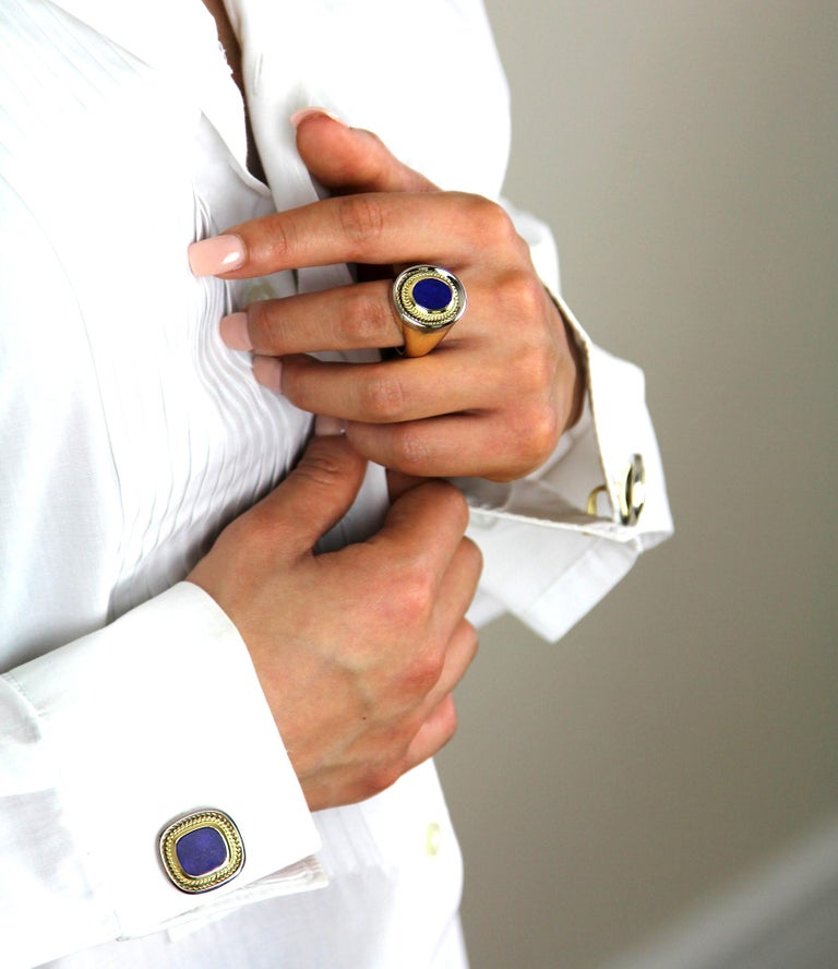 This pair of cufflinks is the epitome of timeless elegance and style set with Lapis Lazuli in bimetal heavy 18 carat white and yellow gold. Sponsor mark