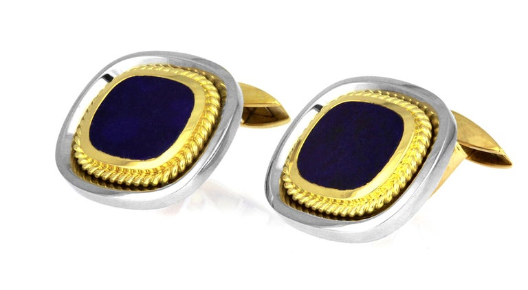 Oval Cut Pair of Classic Cufflinks with Lapis Lazuli in Bimetal 18K White and Yellow Gold For Sale