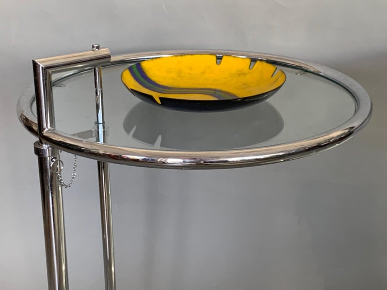 Modern Pair of Classic Eileen Gray Chrome Tables with Adjustable Tops For Sale