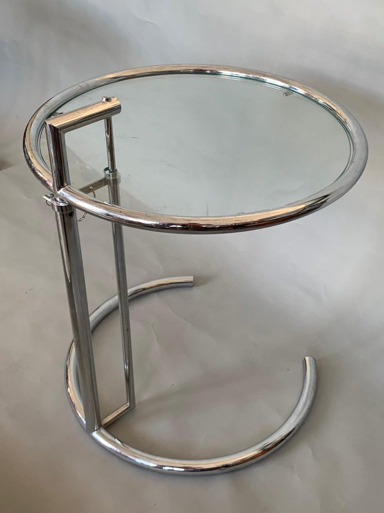 Pair of Classic Eileen Gray Chrome Tables with Adjustable Tops In Good Condition For Sale In St.Petersburg, FL